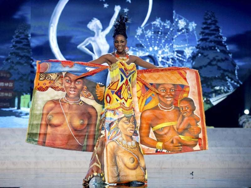 Miss Angola Marcelina Vahekeni parades proudly in a costume representing her country at the 2012 Miss Universe National Costume Show at PH Live in Las Vegas. The 89 contestants showcased the best of their countries wearing their national costumes at the competition. (Reuters)