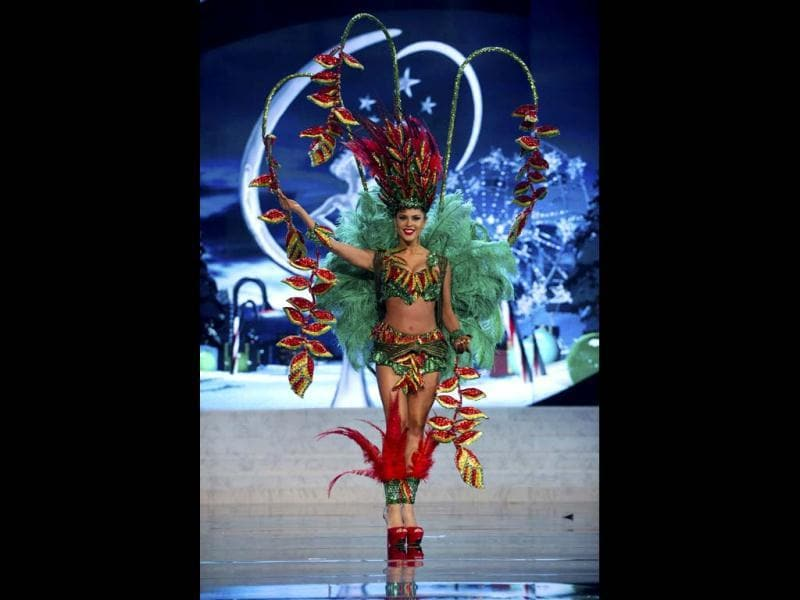 Miss Bolivia Yessica Mouton showcases the best of her country wearing her national costume at the 2012 Miss Universe National Costume Show in Las Vegas. The 89 candidates paraded proudly in their national costumes during the competition. (Reuters)