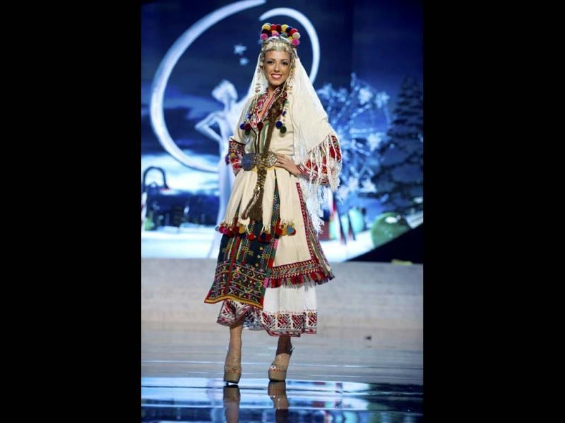 Miss Bulgaria Zhana Yaneva parades proudly in her best at the 2012 Miss Universe National Costume Show in Las Vegas. The 89 Miss Universe contestants paraded proudly in the costumes as they prepared to battle it out for coveted prize on December 19. (Reuters)