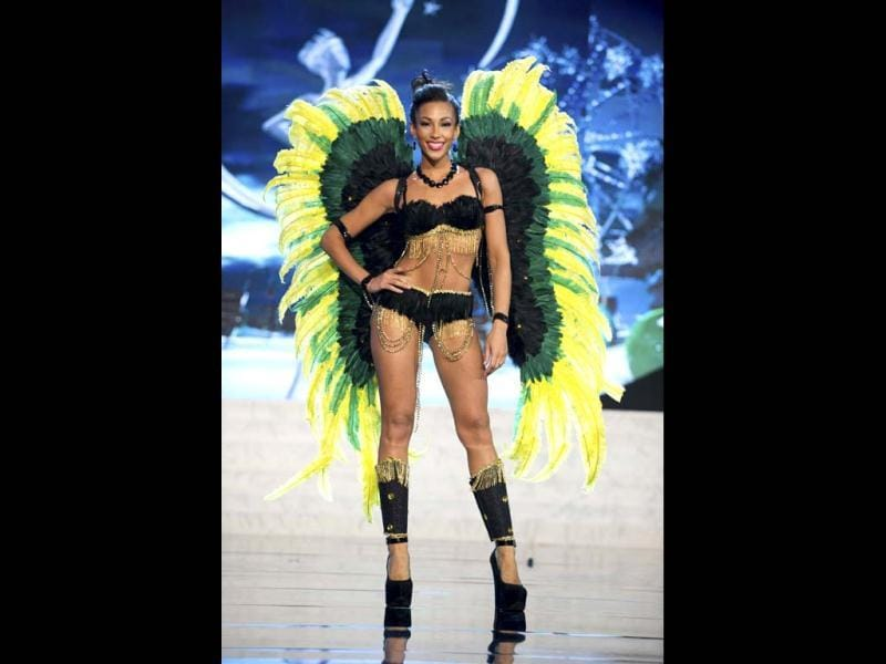 Miss Jamaica Chantal Zaky parades proudly in her best at the 2012 Miss Universe National Costume Show in Las Vegas. The 89 Miss Universe contestants paraded proudly in the costumes as they prepared to battle it out for coveted prize on December 19. (Reuters)