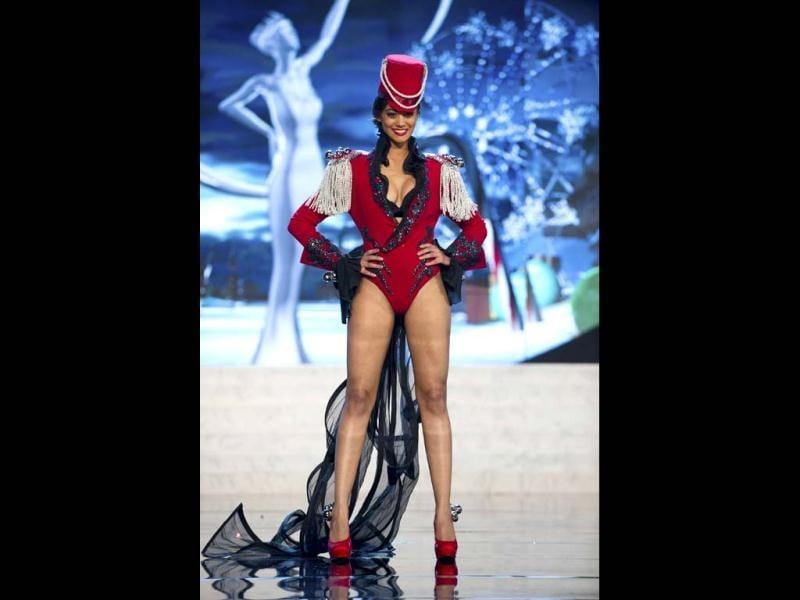 Miss Switzerland Alina Buchschacher showcases the best of her country wearing her national costume at the 2012 Miss Universe National Costume Show in Las Vegas. The 89 Miss Universse contestants hit the runway in costumes representing their countries in the National Costume competition. (Reuters)