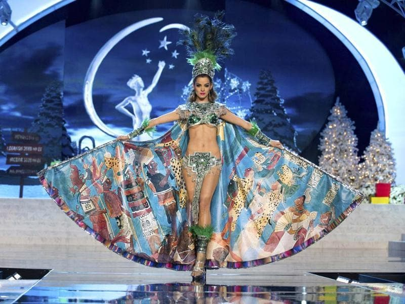 Miss Guatemala Laura Godoy performs onstage at the 2012 Miss Universe National Costume Show at PH Live in Las Vegas. The 89 Miss Universe contestants will compete for the Diamond Nexus Crown on December 19. (Reuters)