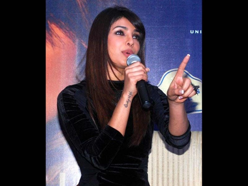 Priyanka Chopra takes the lead! The actress interacts with the media at the event. (AFP Photo)