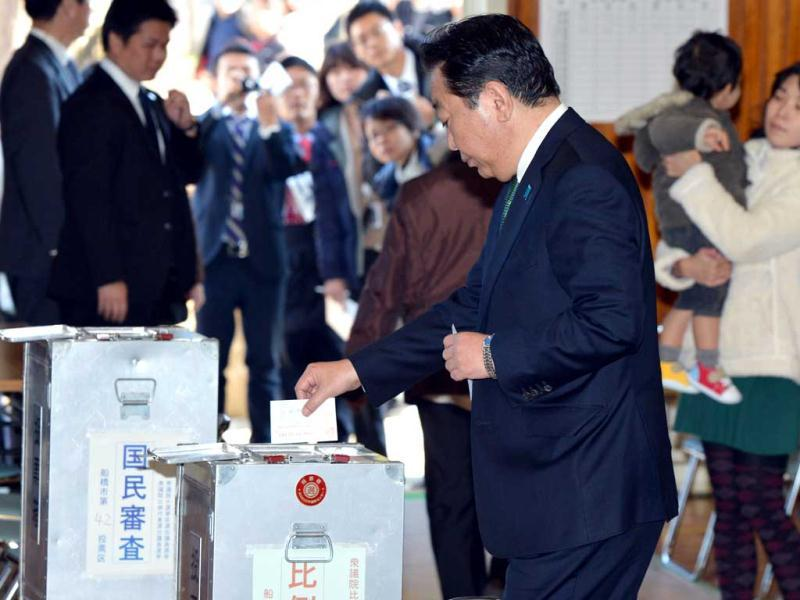 Japanese Prime Minister and leader of the ruling Democratic Party of Japan Yoshihiko Noda casts his vote in general election in Funabashi, in suburban Tokyo. AFP photo