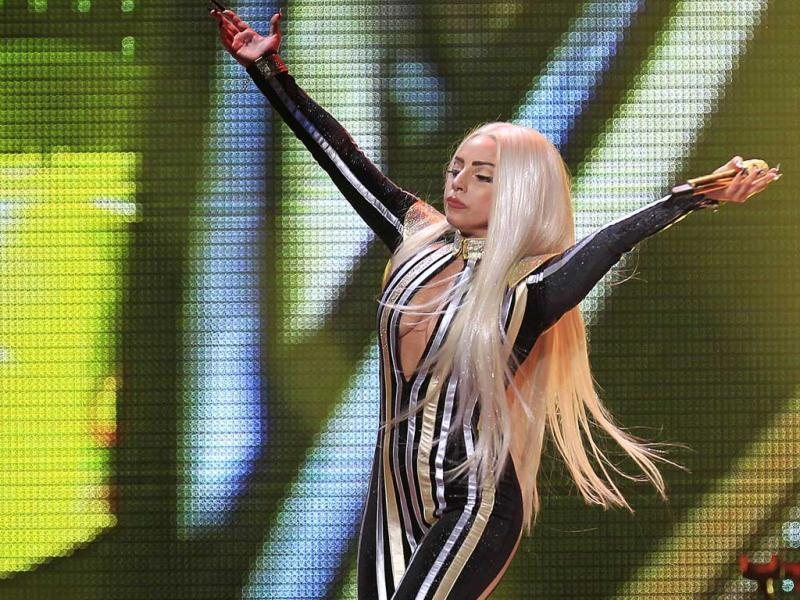 Lady Gaga performs onstage during the Rolling Stones final concert of their