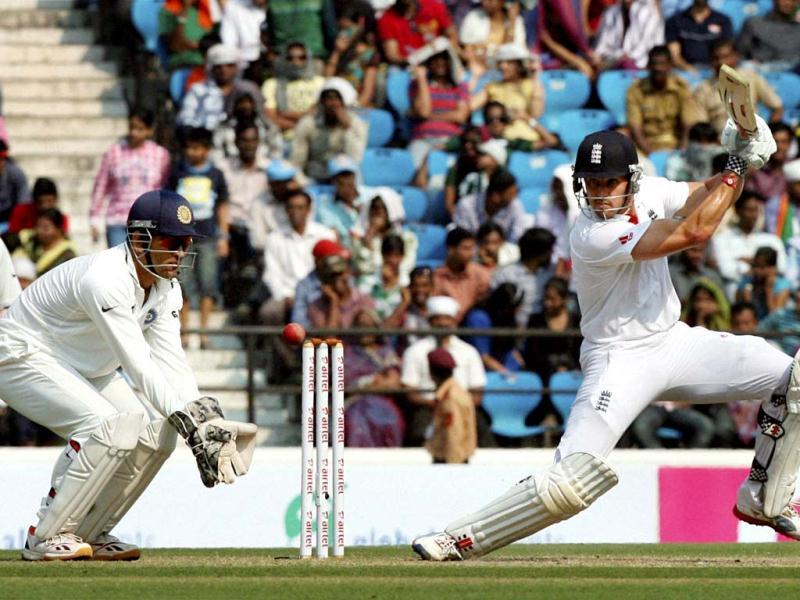 England player Nick Compton hits a shot during their last Test match against India at the VCA Stadium in Nagpur. (PTI Photo)
