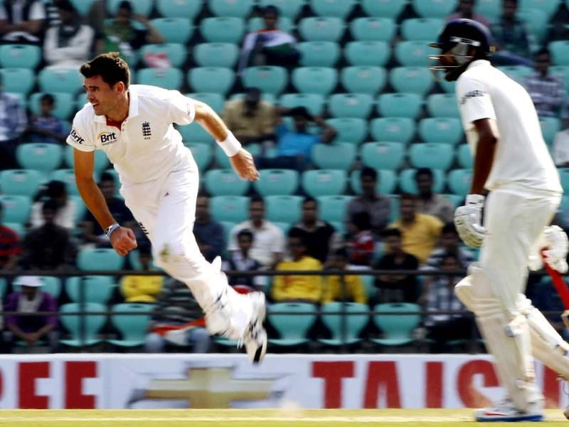 England player Anderson balls during the fourth day of the 4th Test match at VCA stadium in Nagpur. HT/ Santosh Harhare