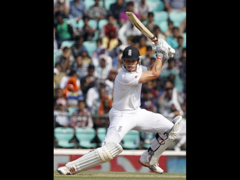 England batsman Nick Compton bats during the fourth day of the 4th Test match between India and England at VCA stadium in Nagpur. HT/ Santosh Harhare