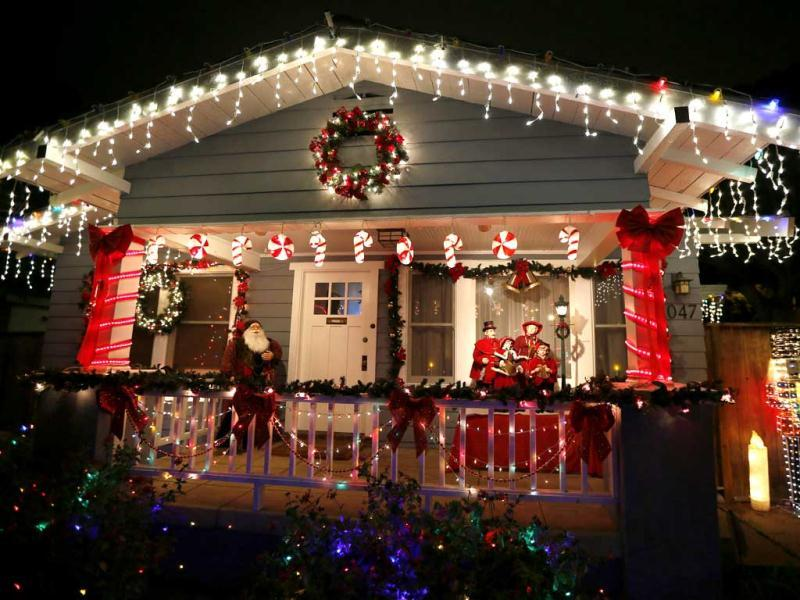 Christmas lights are displayed outside a house in Santa Monica, California. Reuters
