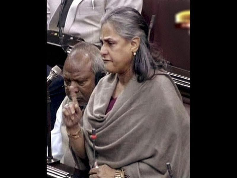 Samajwadi Party MP, Jaya Bachchan breaks down while condemning the recent Delhi gangrape incident in Rajya Sabha. The Indian parliament witnessed outrage over the issue as it sparked fresh concern for women's safety in the national Capital. (PTI Photo)