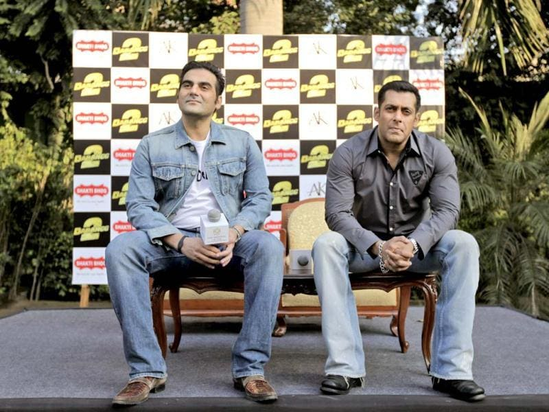 Actor Salman Khan and his brother and producer Arbaaz Khan at an event for Dabangg 2 promotions.