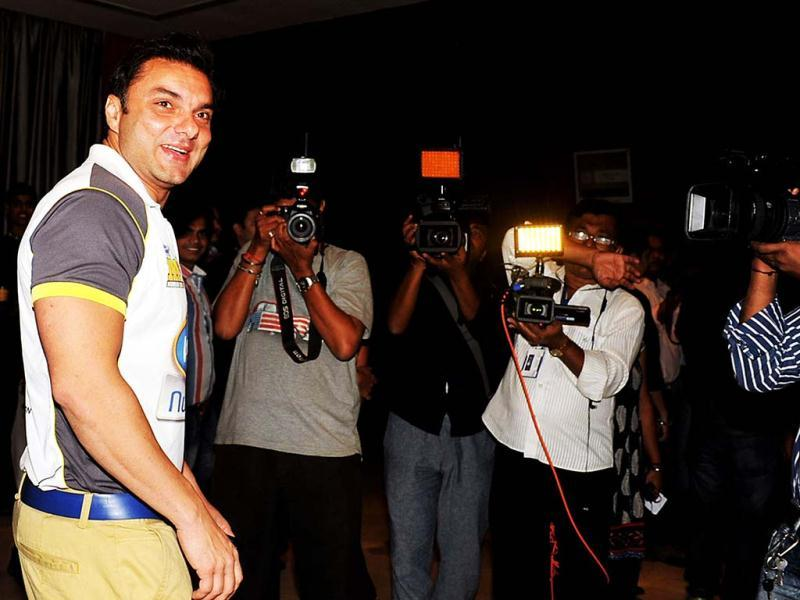 Bollywood actor Sohail Khan poses during a press conference to announce the Celebrity Cricket League(CCL) in Mumbai on December 19, 2012. (Photo: AFP)