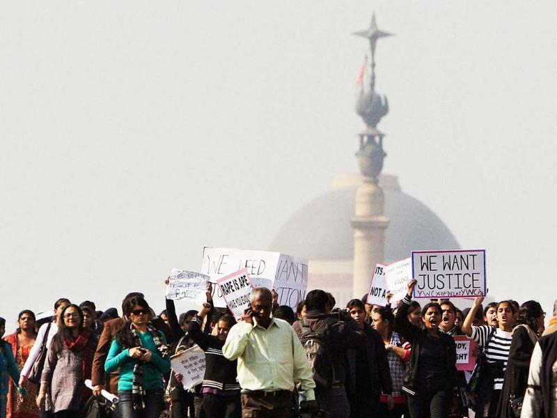 Activists of the All India Democratic Women's Association and Young Women's Christian Association (YWCA) and other people shout slogans as they take part in a protest march from the Presidential Palace to India Gate in New Delhi. AP Photo