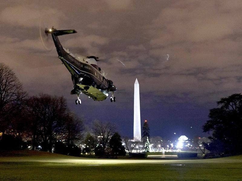 Marine One, carrying US President Barack Obama and the First Family, takes off from the South Lawn of the White House in Washington, DC. AFP Photo
