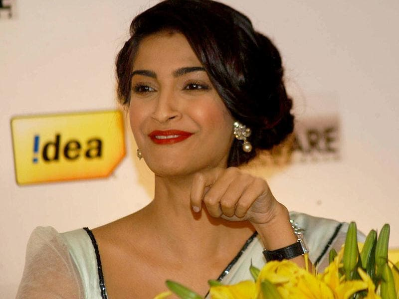 Something amusing? Sonam Kapoor at the at the 58th Idea Filmfare Awards Press Conference.
