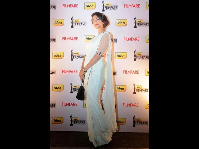 Sonam poses for the photographers as she arrives at the 58th Idea Filmfare Awards Press Conference in Bangalore on Friday.