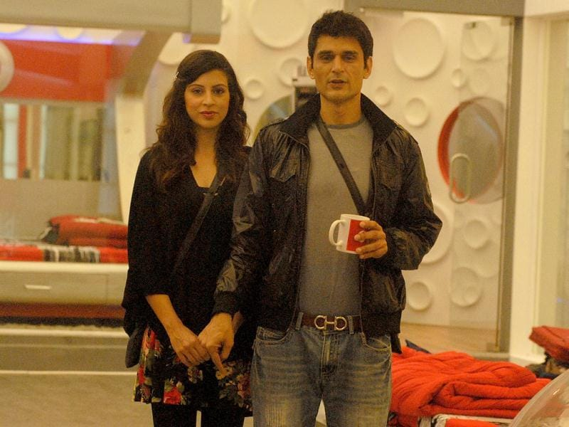 Karishma and Niketan hold hands as they wait for the result of evictions in Bigg Boss 6.