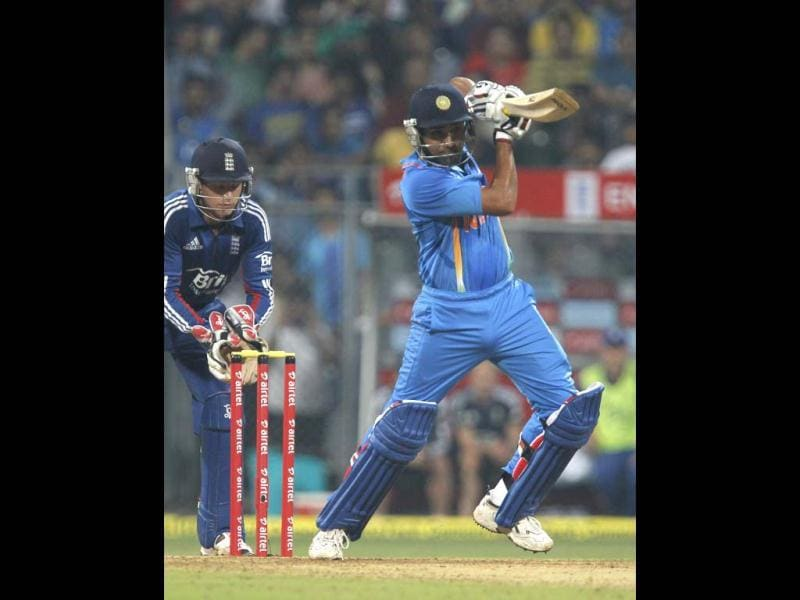 Rohit Sharma plays a shot during the T20 cricket match against England at Wankhede Stadium in Mumbai. HT/Satish Bate