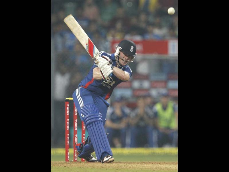 England's batsman Eoin Morgan plays a shot during the T20 cricket match againt India at Wankhede Stadium in Mumbai. HT/Satish Bate