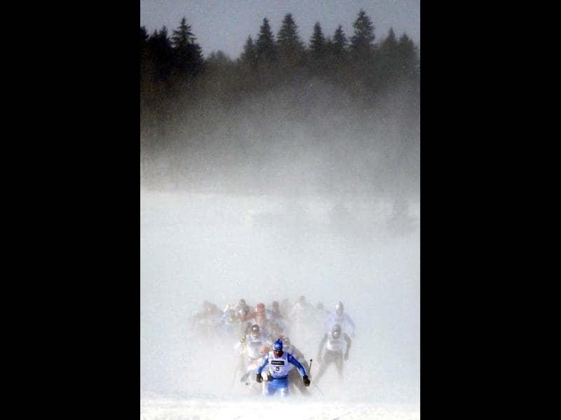 Participants compete during the Nordic Transjurassienne skiing race on February 12, 2012 in Lamoura, eastern France. Aliaksei Ivanou of Belarus won the event. AFP Photo