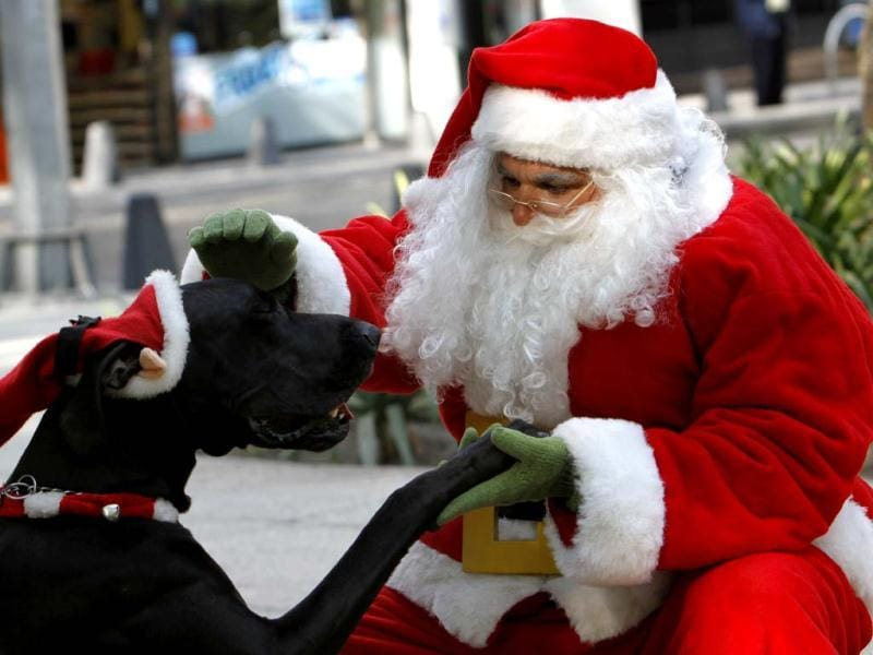 A man disguised as Santa Claus greets his dog in Mexico City. (AP Photo)
