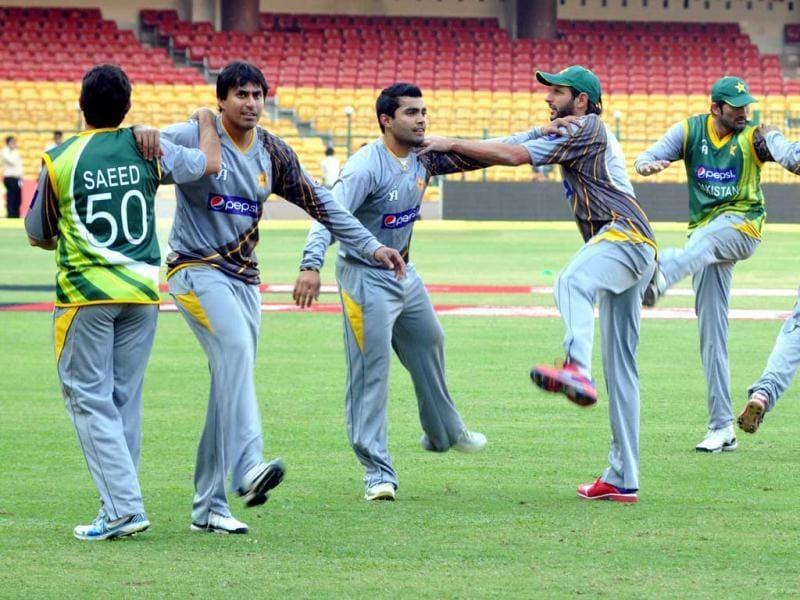 Pakistan cricket team during the practice session at Chinnaswamy stadium in Bangalore on Monday.