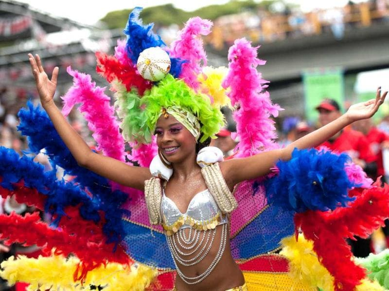 A dancer performs in the Salsodromo parade, which marks the start of the 55th Fair of Cali in Cali, Colombia. AFP Photo