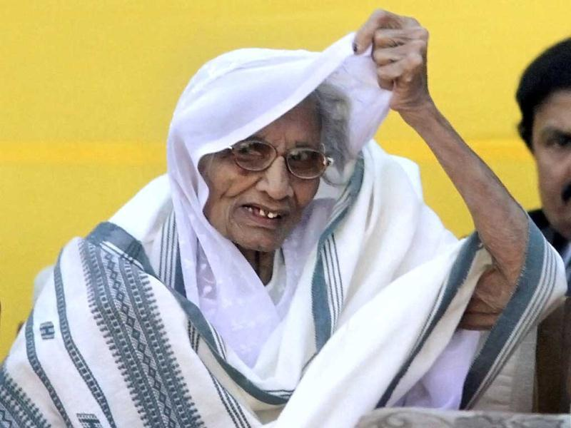 Gujarat Chief Minister Narendra Modi's mother Heeraben at his oath taking ceremony at Sardar Patel Stadium in Ahmedabad on Wednesday. (PTI Photo)