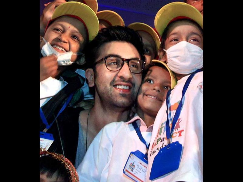 Bollywood actor Ranbir Kapoor celebrates Christmas with cancer affected children in Mumbai. PTI Photo