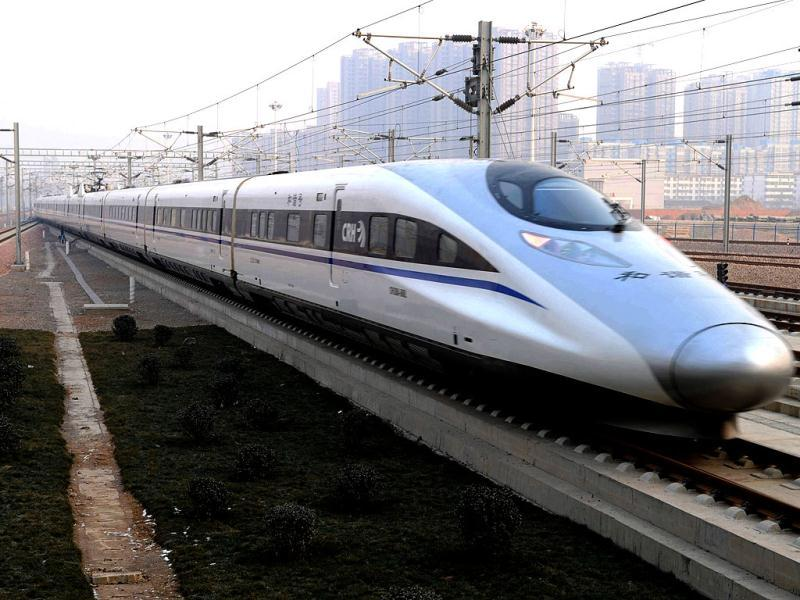 A high-speed train G802 leaves for Beijing from Shijiazhuang, capital of north China's Hebei Province. AP Photo