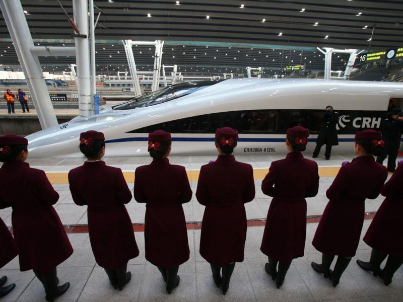 The high speed train of the new 2,298-kilometre (1,425-mile) line between Beijing and Guangzhou waits to start its journey in Beijing. AFP Photo