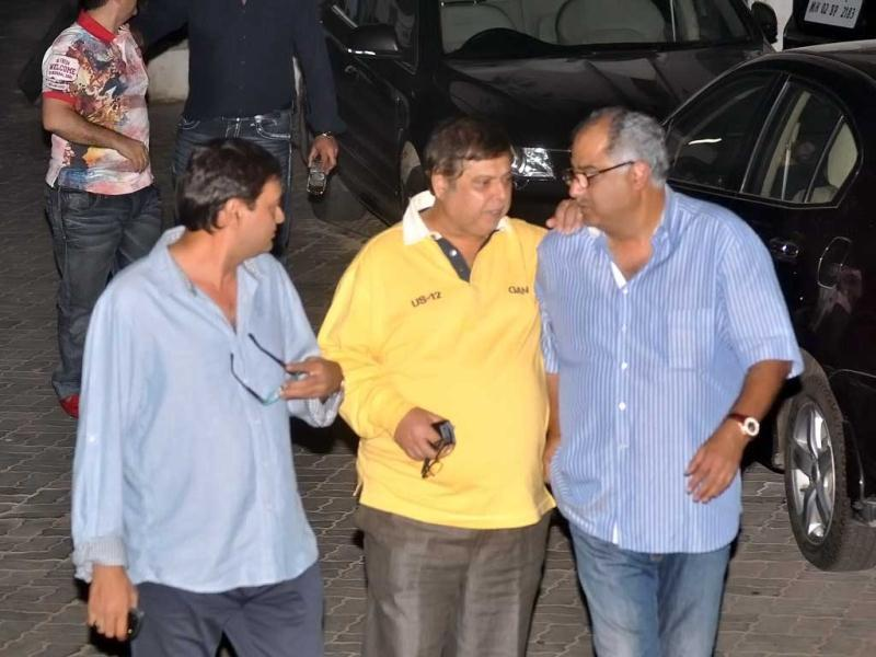 Boney Kapoor and David Dhawan were spotted entering Salman Khan's apartment for his low-key birthday party.