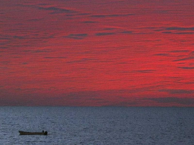 A fishing boat is seen during a sunset in Mazatlan. (Reuters)