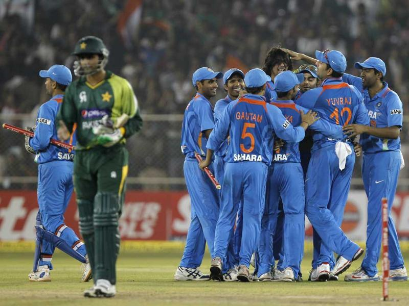 Team India after winning the T20 cricket match against Pakistan at Sardar Patel Stadium, in Ahmedabad. HT/Satish Bate