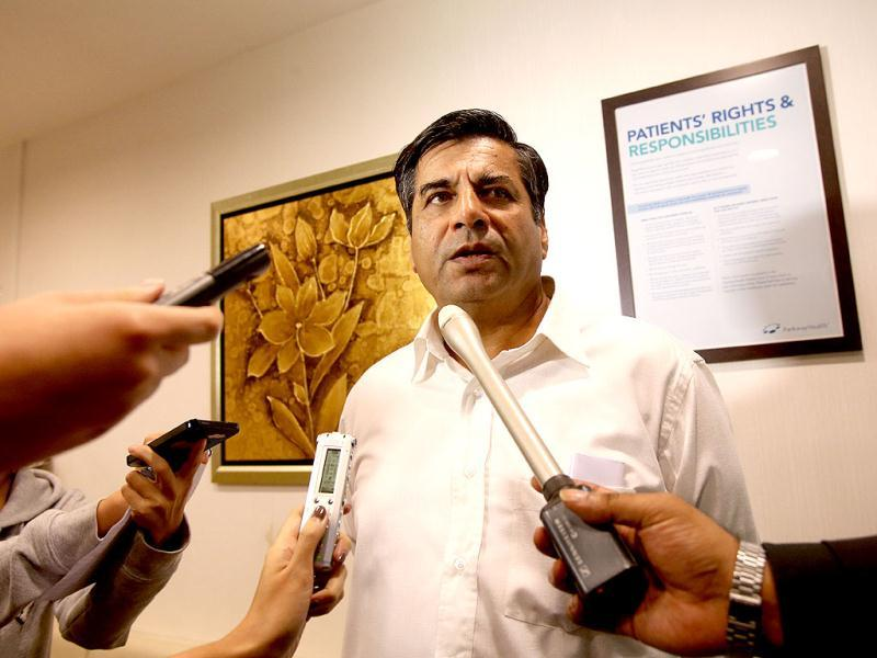 Indian high commissioner to Singapore, TCA Raghavan speaks to reporters about the death of the gangrape victim, at Mount Elizabeth Hospital in Singapore. AP photo