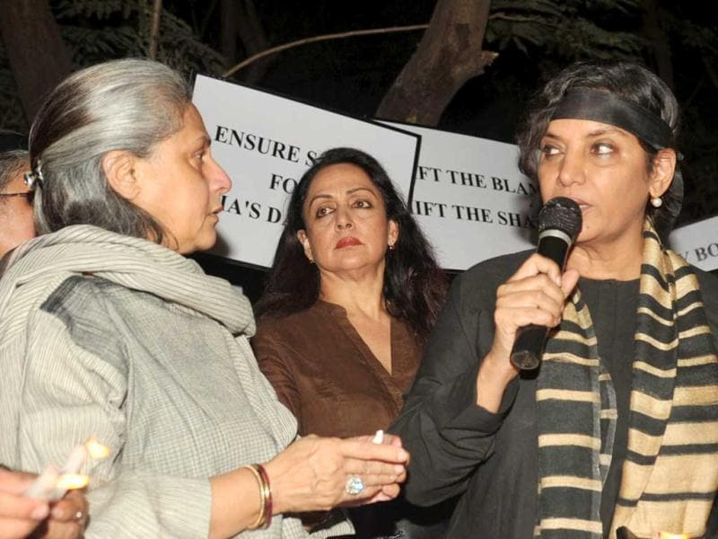 Jaya Bachchan, Hema Malini and Shabana Azmi speak during a protest in Mumbai after the death of the Delhi gangrape victim. AFP Photo