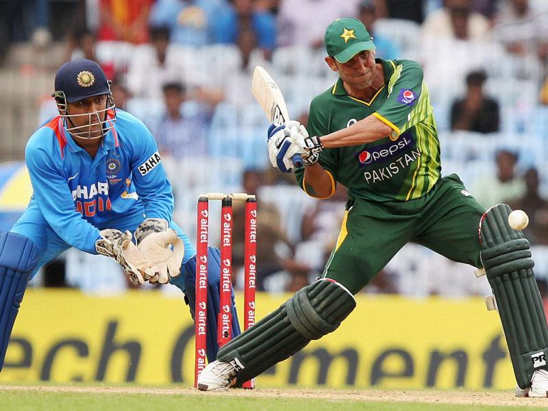 Pakistan's Younis Khan plays a shot during the 1st ODI match against India at MAC Stadium in Chennai. PTI Photo