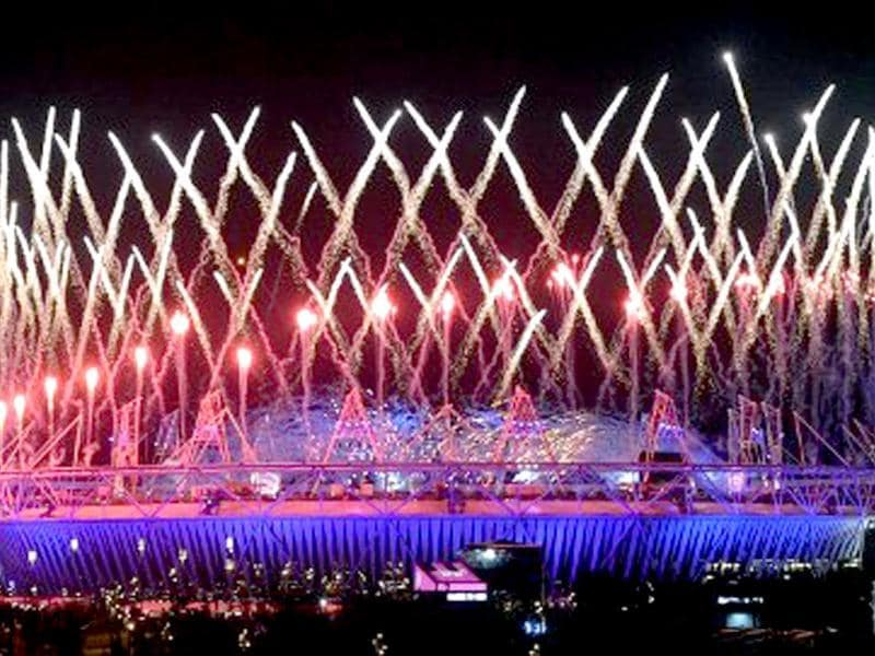 Fireworks light up the Olympic Stadium during the opening ceremony of the London 2012 Olympic Games in London in July. AFP/Indranil Mukherjee