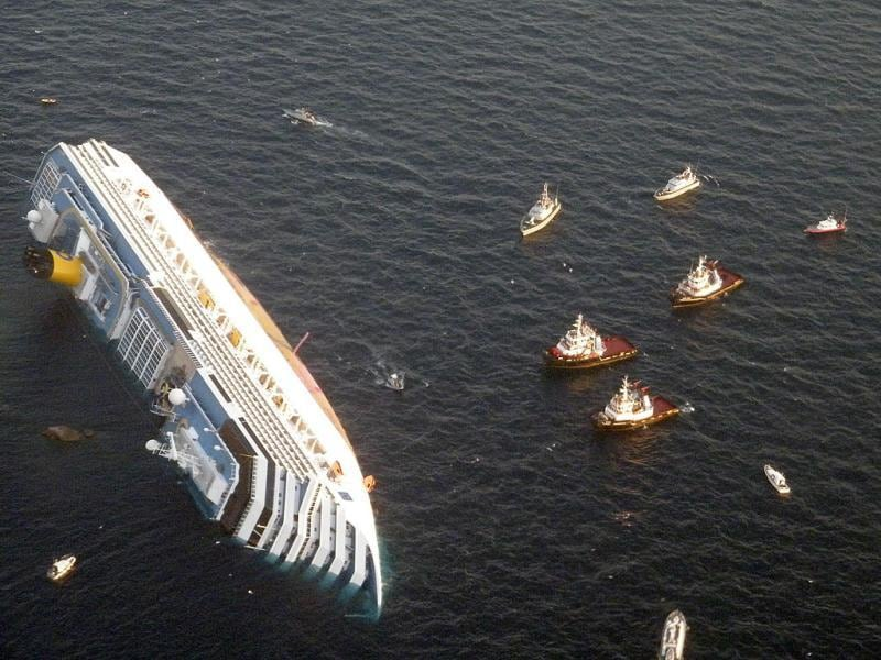The Italian cruise Costa Concordia with over 4,200 passengers on board, ran aground off the Isola del Giglio island in January. AP photo
