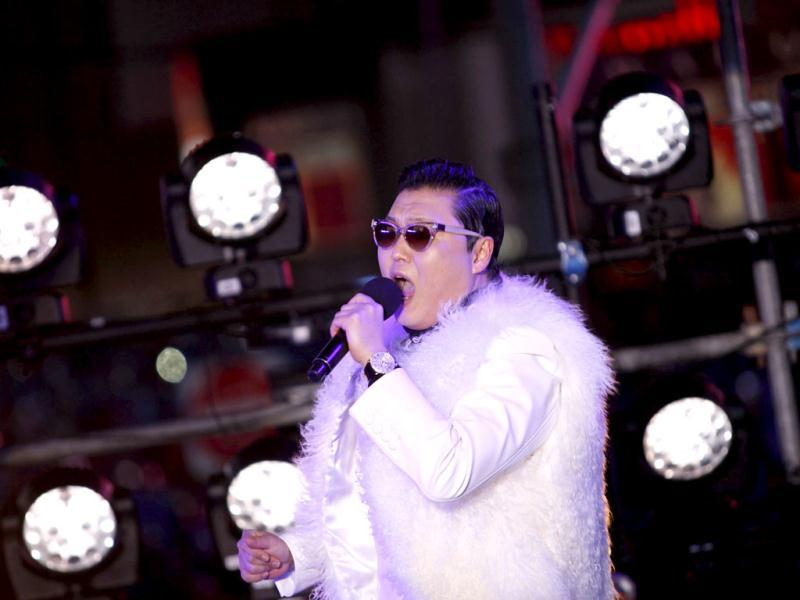 PSY performs during New Year Eve in Times Square in New York. Reuters/Joshua Lott