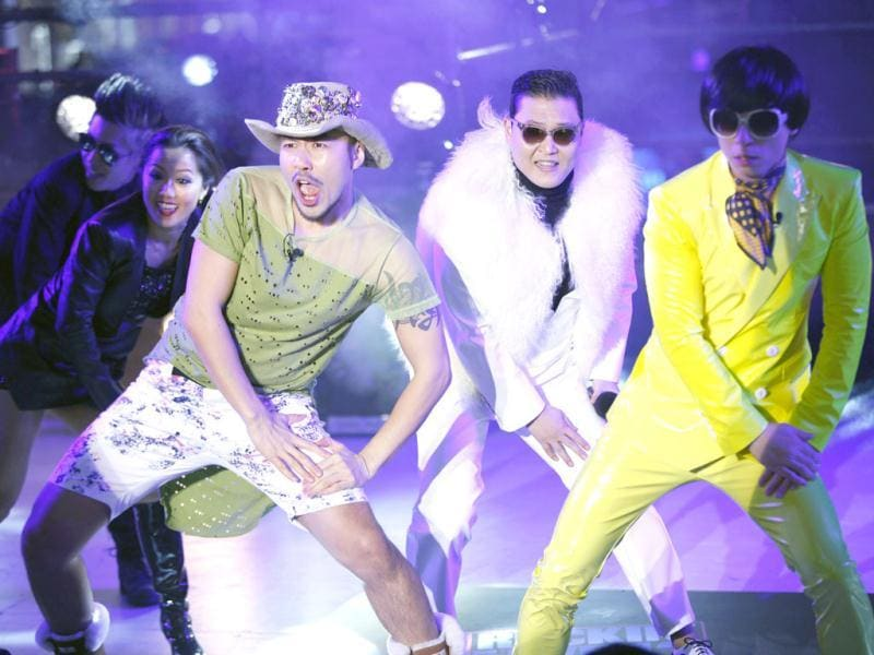 PSY performs with during New Year Eve in Times Square in New York. Reuters/Joshua Lott