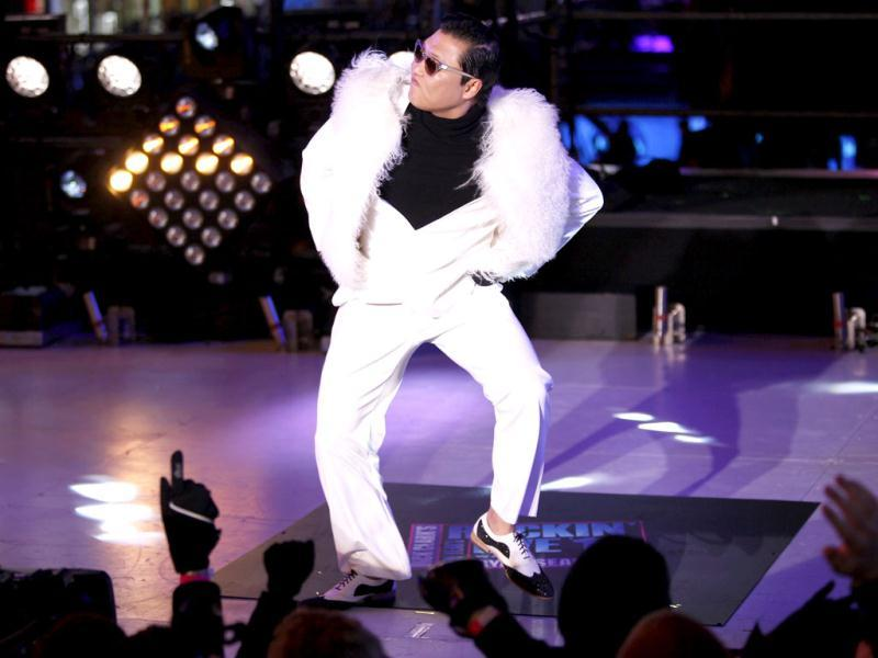 PSY performs during New Year Eve in Times Square in New York . Reuters/Joshua Lott