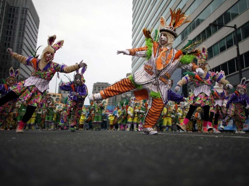 People participate in the 113th annual Mummers Parade in Philadelphia, on Tuesday Jan. 1, 2013. Photo: AP/Joseph Kaczmarek