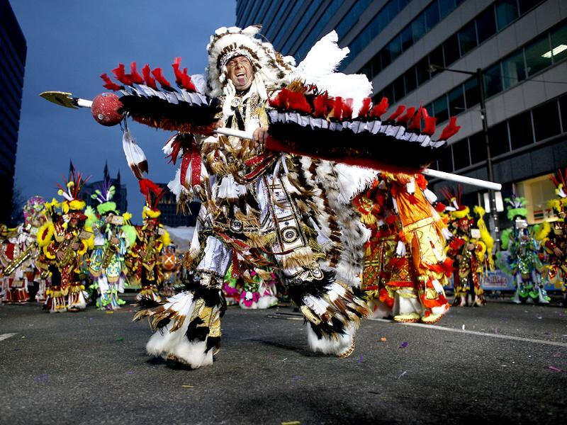 People participate in the 113th annual Mummers Parade in Philadelphia, on Tuesday Jan. 1, 2013. Photo: AP/ Joseph Kaczmarek