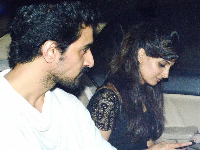 Kunal Kapoor arrived with a guest at the new year party at Ritu Nanda's residence.