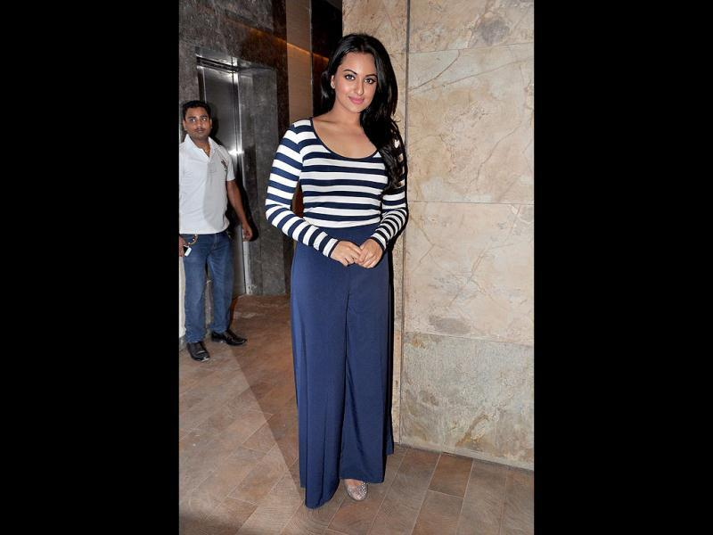 Sonakshi looked nice in a zebra top and matching palazzo pants.