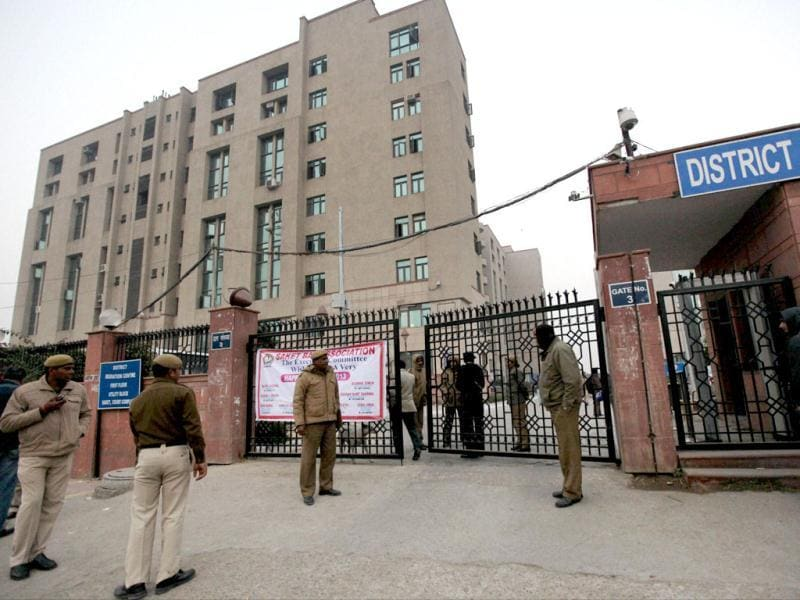 Security men guard outside Saket District Court where Chief Justice of India Justice Altamas Kabir inaugurated a fast-track court for the gangrape and murder case of the 23-year-old medical student, at Saket in New Delhi. PTI Photo