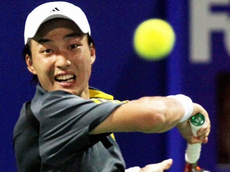 Japan's Go Soeda plays a shot against Prakash Amritraj during the second round of the ATP Chennai Open 2013 in Chennai. Soeda won the match. AP
