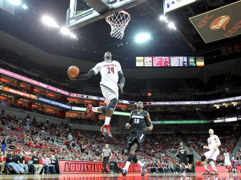 Montrezl Harrell #24 of the Louisville Cardinals goes up to dunk the ball during the game against the Providence Friars at KFC YUM! Center in Louisville, Kentucky. AFP Photo