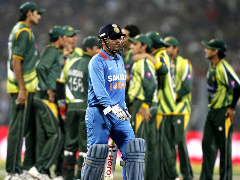 Virender Sehwag walks back after his wicket was claimed by Umar Gul in the second one day international match against Pakistan. HT/Ashok Nath Dey